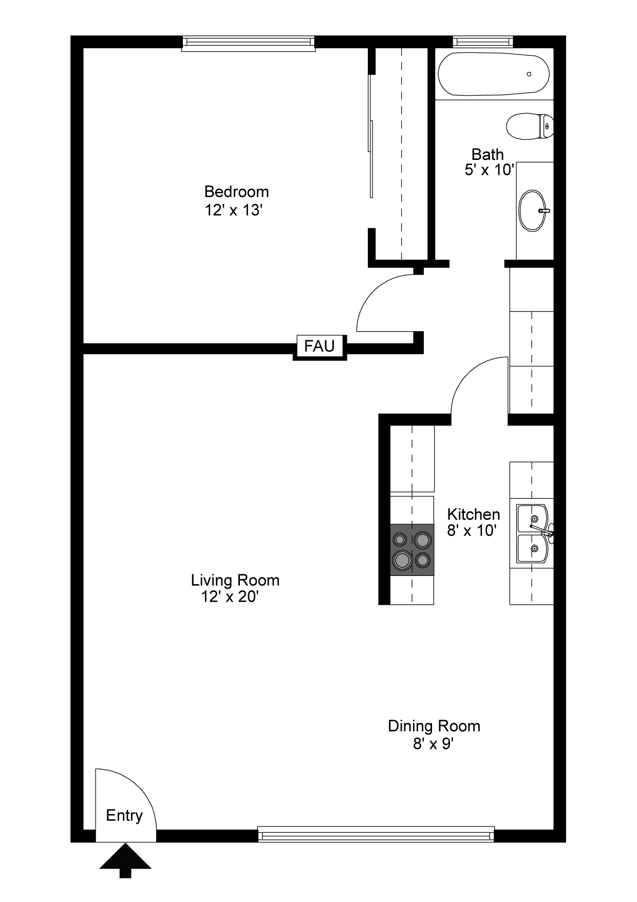 One bedroom floorplan.