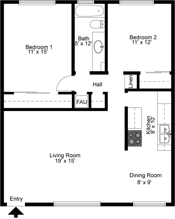 Two bedroom floorplan.