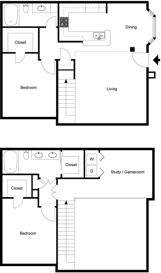 Two story two bedroom two bath floorplan