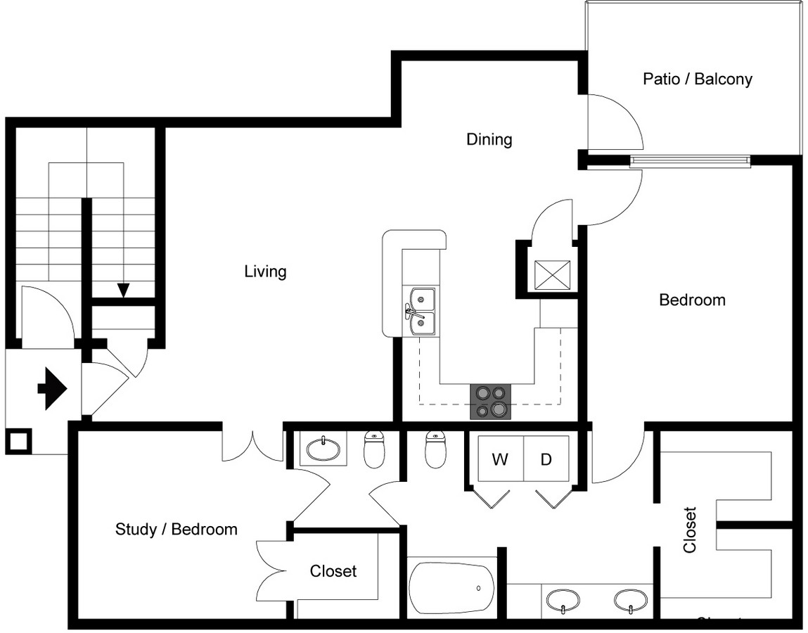 Two story two bedroom one 1/2 bath floorplan