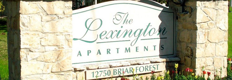 The Lexington sign with joyful flowers.