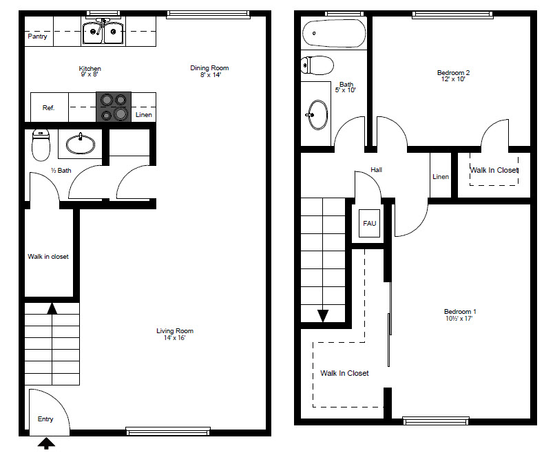 Two bedroom two bath two story floorplan