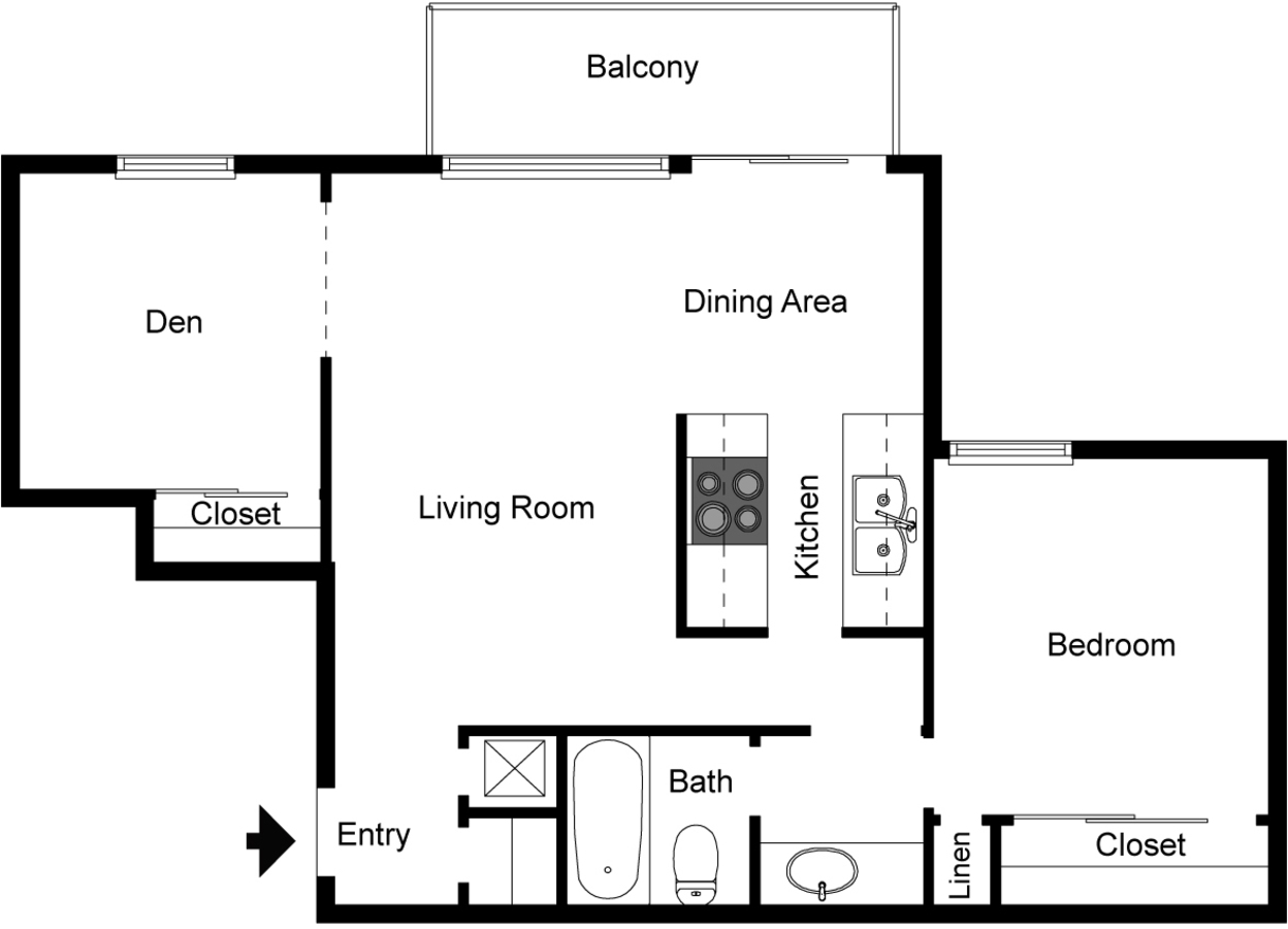 One bedroom floorplan with den and balcony